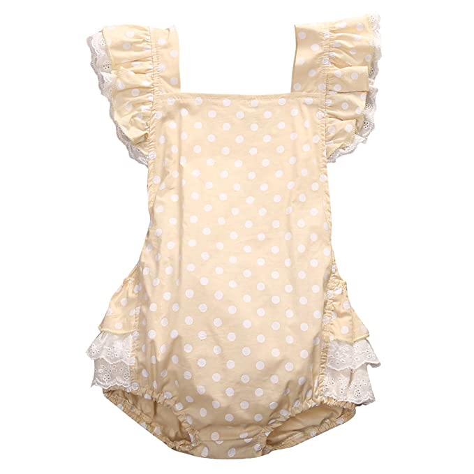 5eaaf815726 Infant Baby Girls Summer White Polka Dot Back Bow-knot Lace Ruffle Bubble  Romper Outfits