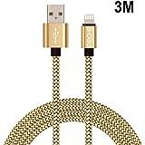 Câble iPhone, Pro-E 3m Nylon tressé Câble Lightning/Câble pour iPhone / Sync Data USB Câble pour iPhone 6/ 6s/5/5s/5c/SE, iPad 4, iPad mini, iPad Air (Or)