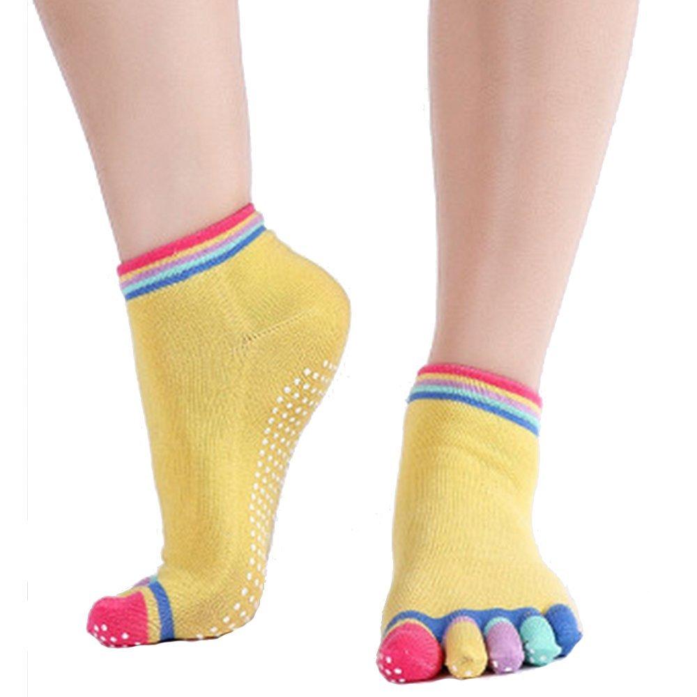 CAOLATOR Calcetines Algodón Calcetín Antideslizante Para Baile Yoga Movimiento Transpirable Moda Color Calcetines de Mujer-Amarillo