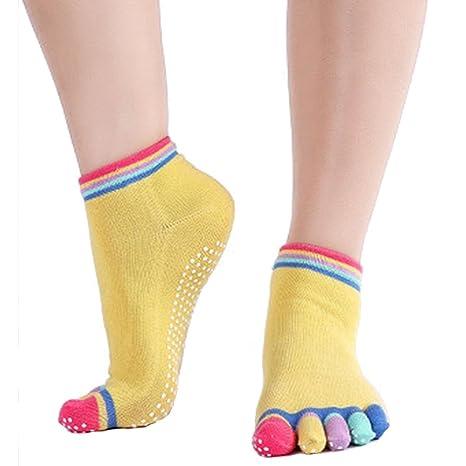 Cdet Calcetines de yoga antideslizante de algodón de cinco dedos deportivos para mujer,Amarillo