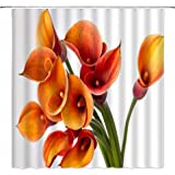 BCNEW Calla Lily Shower Curtain Decor Orange Flower Spring Creative Floral Plant Country Garden Decorative Polyester Fabric M