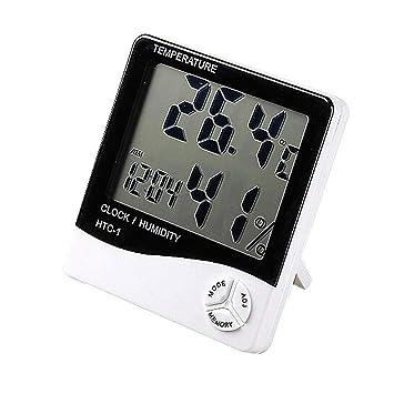 AFGD Termómetro Digitalcd Termómetro Digital Higrómetro Reloj Interior Herramienta: Amazon.es: Hogar