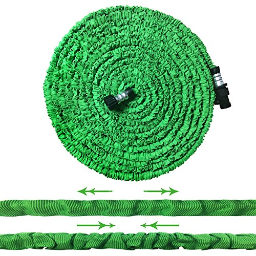 SLDL Expandable Water Hose, Upgraded Lightweight 75ft Garden Hose with Double Layer Latex Retractable Collapsible, On/Off Valve, Extra Strength Fabric Flexible Expanding to 3 Times, Green