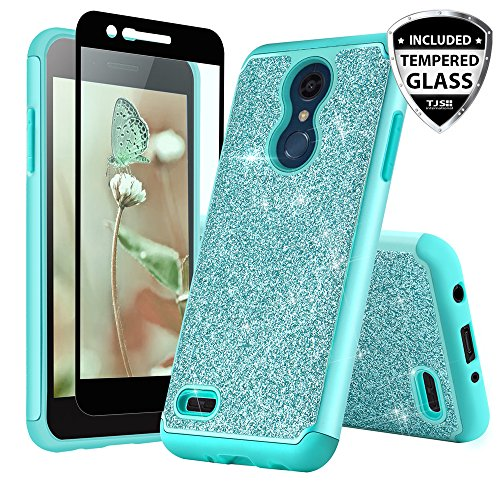 TJS LG K10 2018/K30/Premier Pro LTE/Harmony 2/Phoenix Plus Case, with [Tempered Glass Screen Protector] Glitter Bling Girls Women Design Dual Layer Heavy Duty Hybrid Case (Teal) ()