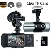 """Car Vehicle Camera,Rongyuxuan 2.7"""" HD 1080P Dual Lens Dash Cam GPS Vehicle Dashboard Camera Synchronous DVR Recorder for Whole Driving Track Recorder(16G TF Card Included)"""