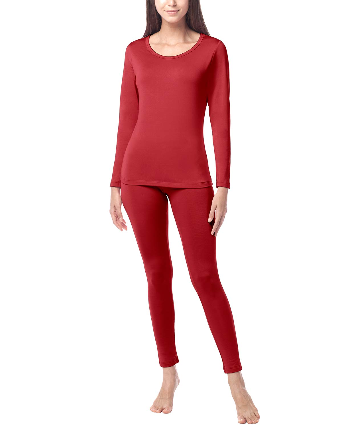 LAPASA Women's Lightweight Thermal Underwear Long John Set Fleece Lined Base Layer Top and Bottom L17 (X-Small, Red) by LAPASA