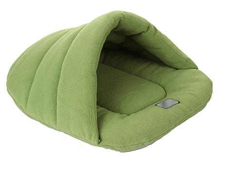 YiJee Caliente Saco de Dormir Perro Suave Acogedor Bolsas Cama Perrera para Perros y Gatos Verde