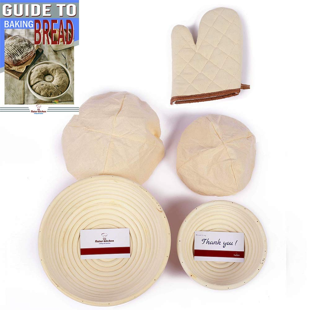 9 Inch + 6 Inch Banneton Proofing Basket, Rising Rattan Basket Set for Home Bakers & Professional Bread Making with Bowl Scraper & Brotform Cloth Liner Oven Glove Rising Sourdough