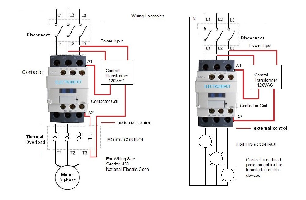 Wiring Diagram For Ac Contactor : Amazon a contactor v coil pole lighting