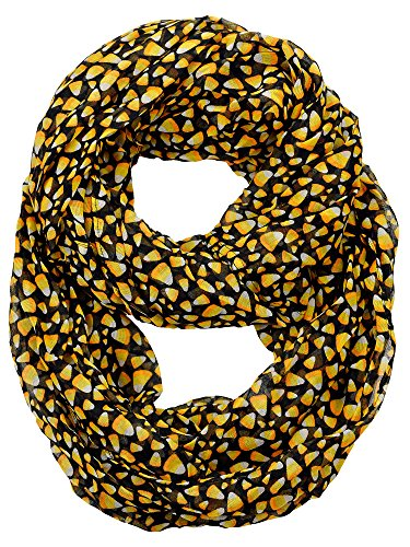 D&Y Halloween Theme Sheer Loop Infinity Scarf, Candy Corn