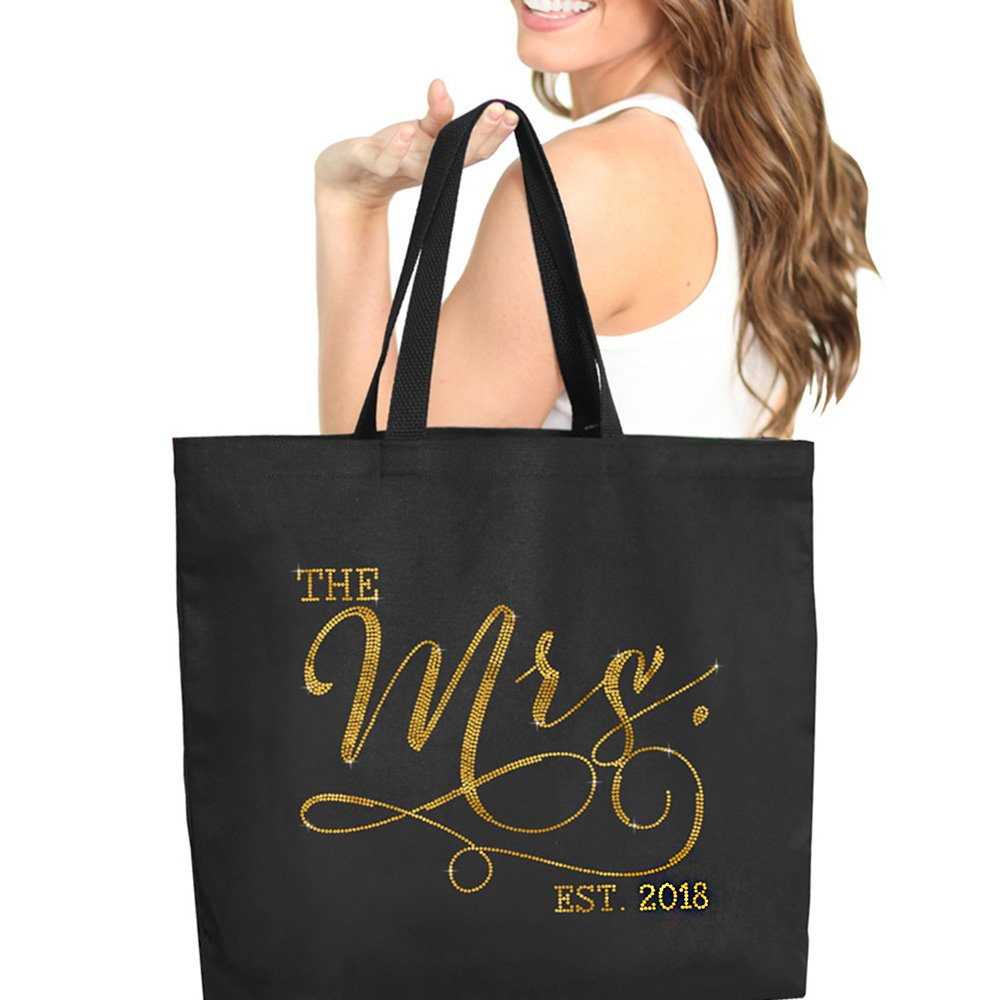 The Mrs. EST 2018 Black Gold Rhinestud Jumbo Canvas Tote Bag for the Bride 18'' X 14'' Tote(Mrs 2018 GLD) BLK