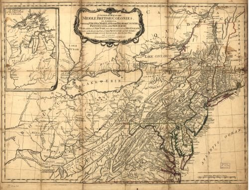 1776 Map A General map of The Middle British Colonies,in America. Containing Virginia,Maryland,The Delaware Counties,Pennsylvania and New Jersey. with The Addition of New York,and The Greatest pa (Map Counties Maryland)