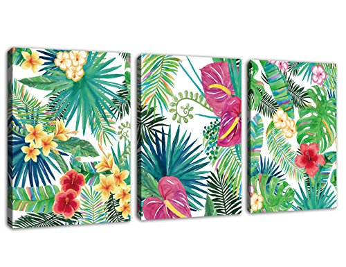 """Canvas Wall Art Green Leaf Red Yellow Flowers Contemporary Pictures 3 Pieces x 12"""" x 16"""" Modern Tropic Plants Rain Forest Painting Artwork Prints Framed Ready to Hang for Home Decoration"""