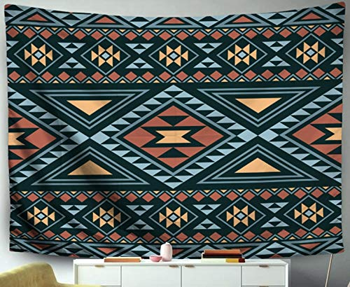 (Asdecmoly Kids Tapestry Wall Hanging, Huge Tapestry for Living Room and Bedroom 80 Lx60 W Inches Geometrical Pattern Tribal Aztec Ornament Abstract Wallpaper in Boho Art Printing Inhouse)
