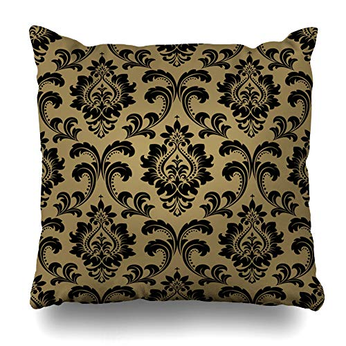 (Ahawoso Throw Pillow Cover Dark Beige Black Floral Pattern Baroque Damask Abstract Drapery Antique Gray Flourishes Flower Decorative Cushion Case 18x18 Inches Square Home Decor Pillowcase)