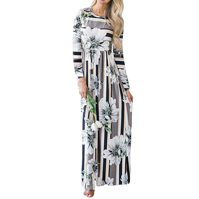 Vestidos para Mujer, Lenfesh Otoño Vestido Largo de Manga Larga para Mujer Vestidos Mujer Floral