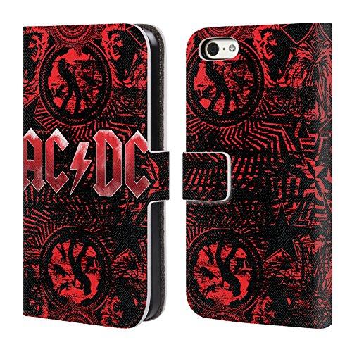 Officiel AC/DC ACDC Orné Rouge Logo Étui Coque De Livre En Cuir Pour Apple iPhone 5c