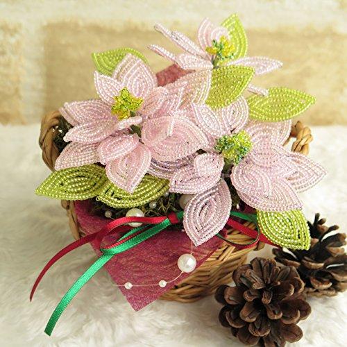 ビーズキット ポインセチアの籐かごキット ピンク