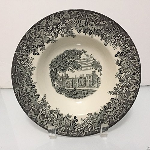 (Wedgwood Romantic England Queen's Ware Black Soup Bowl Rimmed Plate)