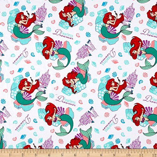 E. E. Schenck 0544942 Disney The Little Mermaid Fearless Dreamer Jersey Knit Multi Fabric by The Yard, Multicolor