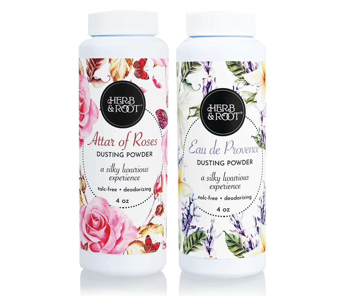 Dusting Powder Set of 2 | Rose and Lavender | Deodorant, Chafing, Absorb sweat and odor by Herb & Root