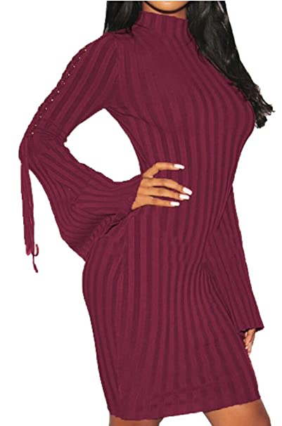 9164a86b656 GAGA Women s Slim Long Sleeve Turtleneck Ribbed Bodycon Sweater ...
