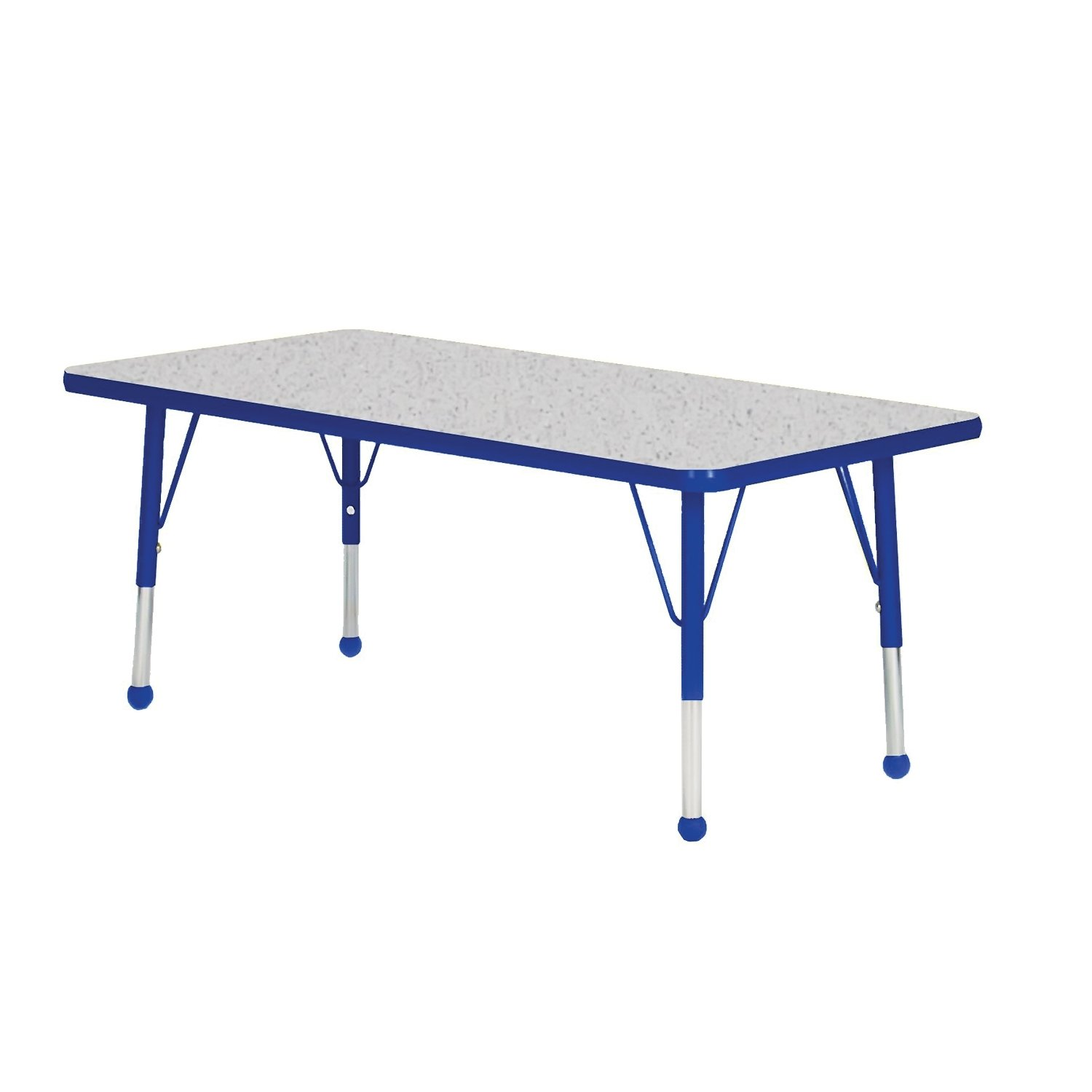 Creative Colors N3048BL-SB Activity Table, Ball Glides, Standard Height, 30'' x 48'', Rectangle, Gray Nebula Top, Blue Edge