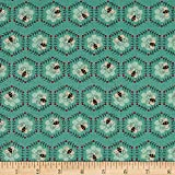 To Be Or Not To Be Bee Honeycomb Light Teal Fabric By The Yard