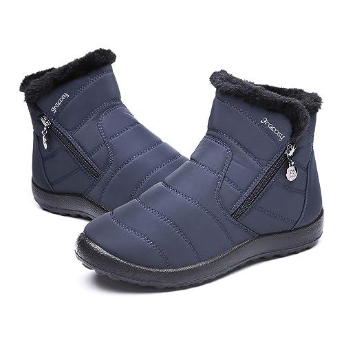 Botas de Nieve para Mujer Niñas,Camfosy Botas de Invierno Impermeables Zapatos Iinvierno Planos Tacón Plano Ciudad Botas Piel Interior cálida Cómoda Zip ...