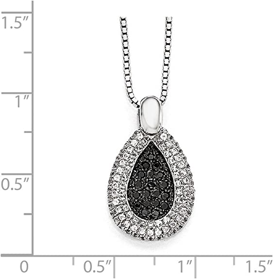 Bonyak Jewelry SS Rhodium-Plated CZ Brilliant Embers Teardrop Necklace in Sterling Silver