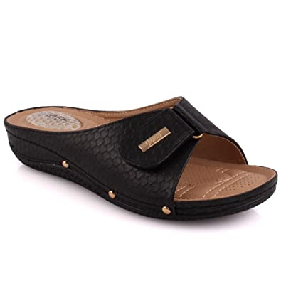 db52a8fd352 Unze Women Ladies  Ciat  Velcro Strap Comfortable Open Toe Slip On Low  Heeled Casual Slippers Shoes Size 3-8