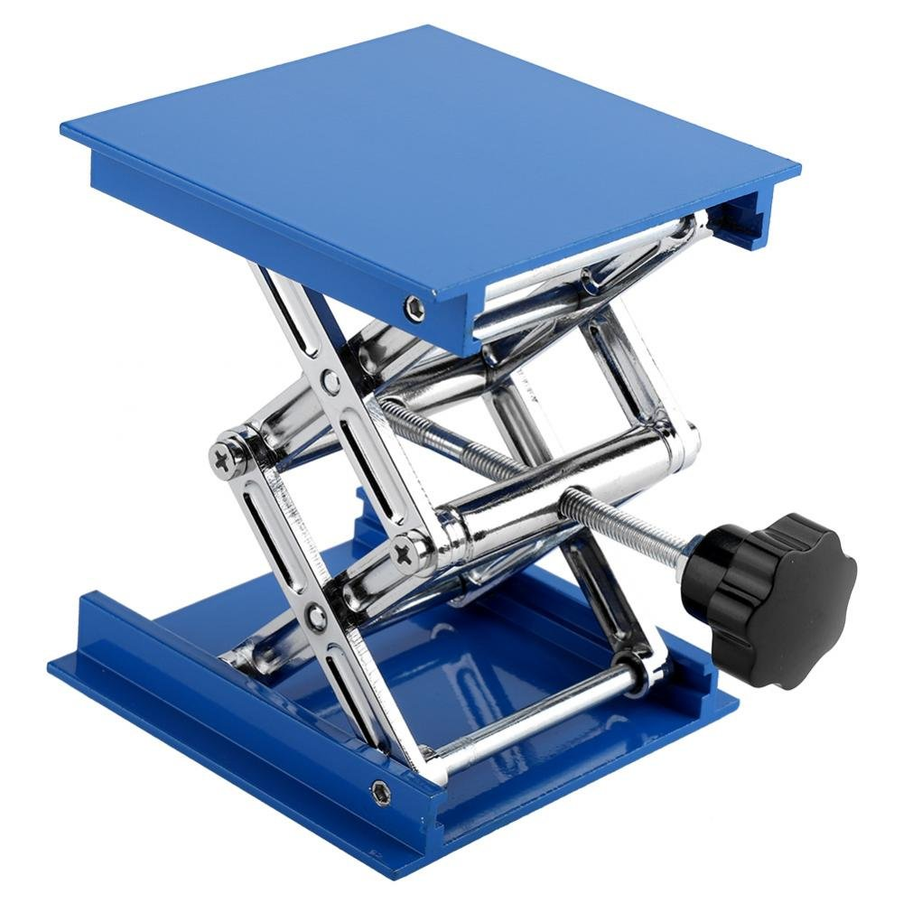 Lab Jack, Lab Lift Platform 100 x 100mm Blue Electroplated Aluminum Durable Lift Table Lab Lifting Stand Rack Adjustable Platform Scissor Jack Lifter Practical Lab Tool Assortment