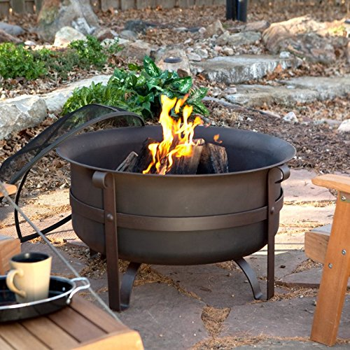 Red Ember Brockton Steel Cauldron Fire Pit with Free Cover Multicolor - AD452, 34 in.
