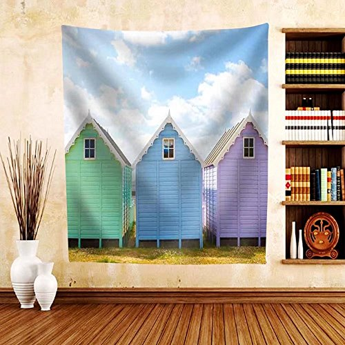 Gzhihine Custom tapestry Traditional British beach huts on a bright sunny day - Fabric Tapestry Home Decor - African Huts Pictures