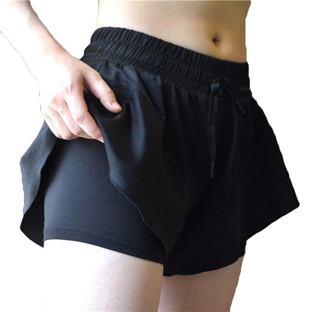 4358f5e2263a3 Hibote Yoga Sports Fitness Gym Shorts de Plage Femmes Shorts Jupe élastique  pour la Remise en Forme des Femmes  Amazon.fr  Vêtements et accessoires