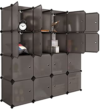 Langria 16 Cube Organizer Plastic Stackable Storage Shelves Multifunctional Modular Closet Cabinet With Hanging Rod For