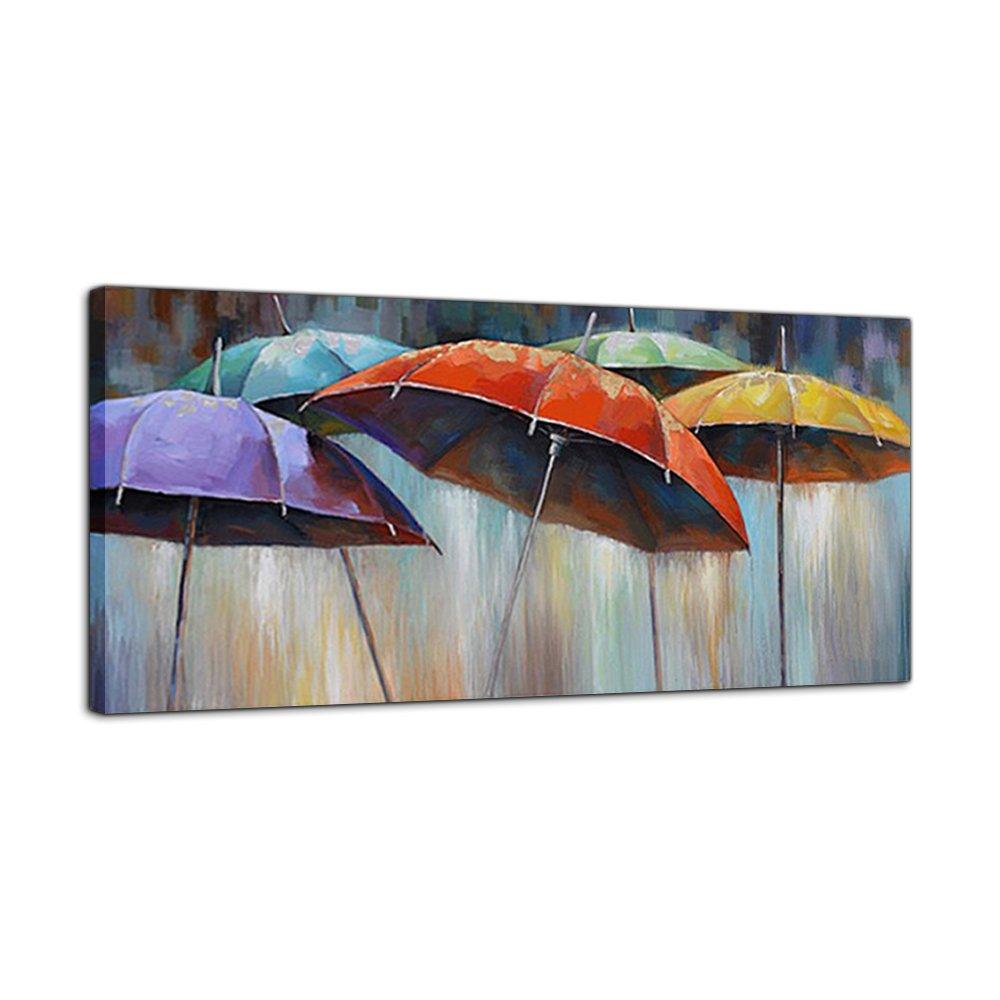 IPLST@ Bunte Regenschirme Ölgemälde in regnerischen Tag Leinwand ...
