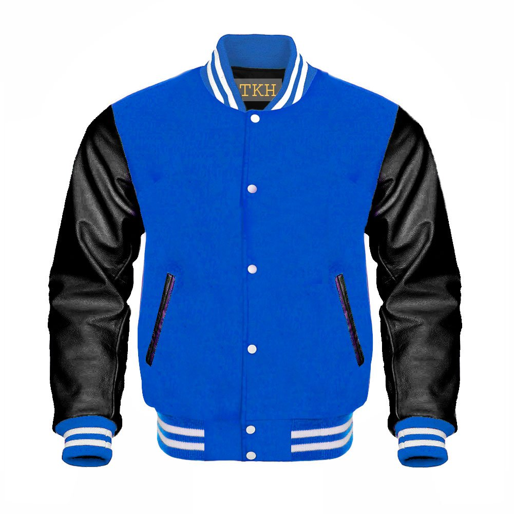 Design Custom Jackets Letterman Baseball Varsity Jacket Black Leather//Royal Blue