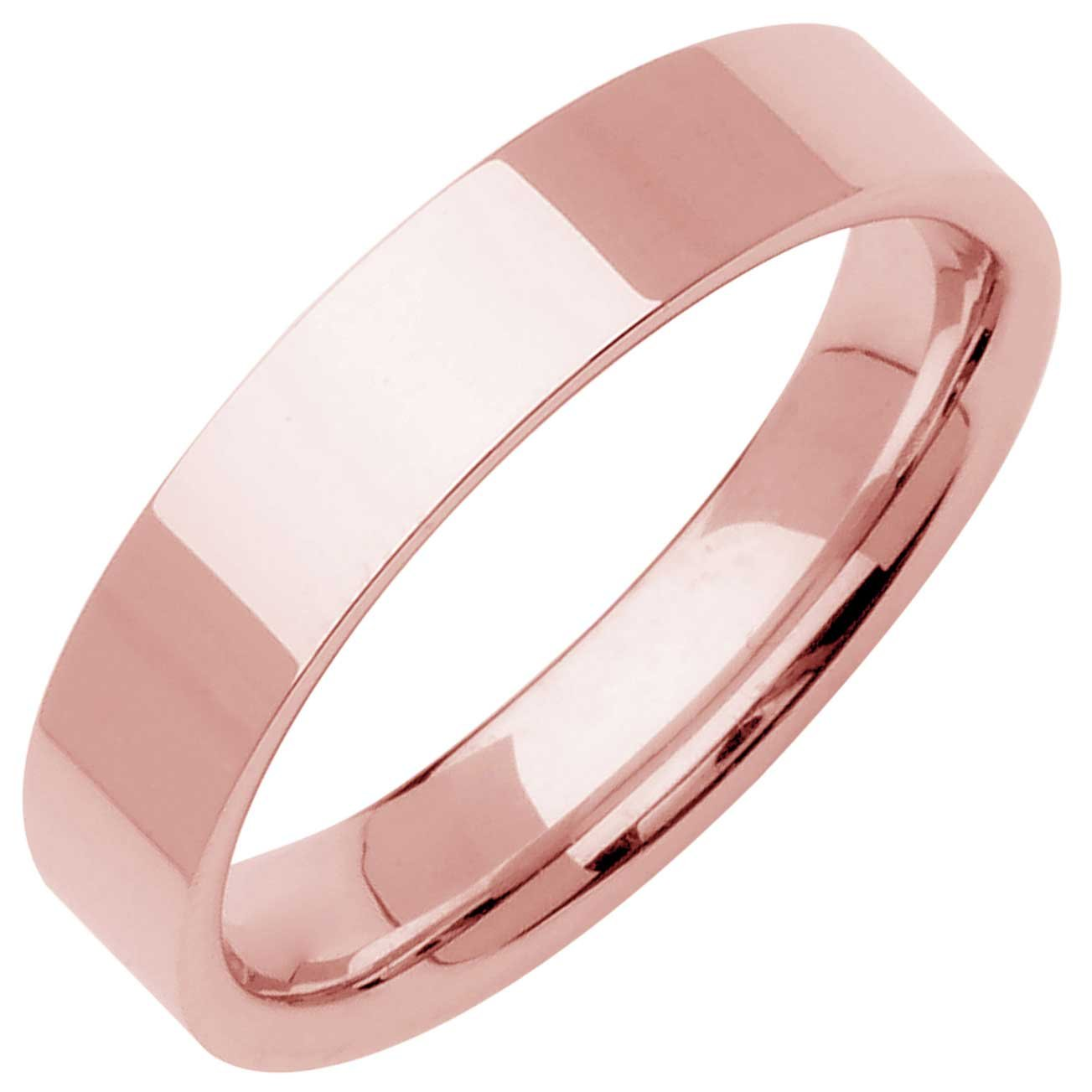 18K Rose Gold Traditional Top Flat Men's Comfort Fit Wedding Band (6mm) Size-11c1 by Wedding Rings Depot