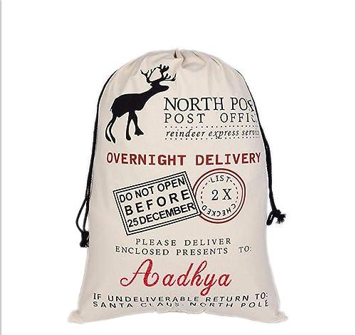 HUAN XUN Custom Name Christmas Santa Sack Aadhya Best Gifts Bags for Home Familys