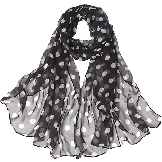 FimKaul Lightweight Chiffon Sheer Scarves Womens Pretty Polka Dot Print Scarf Bohemia (Black)