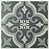 SomerTile FTC8BRBK Bracara Ceramic Floor and Wall Tile, 7.75'' x 7.75'', Grey