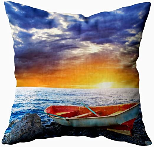Gypsophila Comfort Pillow Cover, Pack of 2 Pillow Cases,Seasonal Sunset Beautiful Sunset Black Sea Gold Sea Background Amazing Picture Waves Summer 18X18Inch Decorative Pillowcases for Boys Girls: Amazon.es: Hogar