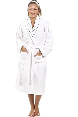 596102259ebeea Camille - Damen Bademantel aus extra weichem Fleece-Material - Weiß 38/40
