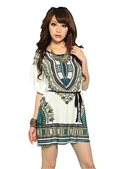 JTC Women Bat-wing Sleeve One-piece Folk Style Loose Dress Shirt Printed (Black) at Amazon Womens Clothing store: