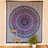 Blue Elephant Rangoli Mandala Tapestry Wall Hanging Indian Dorm Decor