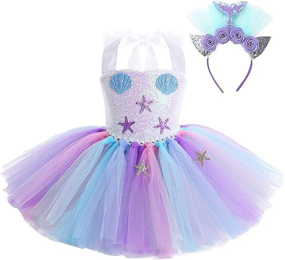 dPois Disfraz Sirena Niña Vestido de Sirenita Princesa con Cola ...