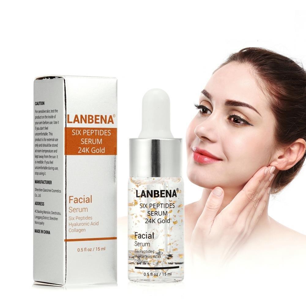 Sérums de peptides pour le visage avec l'acide hyaluronique Collagen Six peptides or 24K Anti-vieillissement essence rendre la peau visiblement plus jeune Sonew