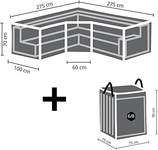 Perel Juego de Fundas Protectoras: Protectora trapezoidales (275 x 275 cm para jardín cojín de salón para Set + Funda para 6 – 8: Amazon.es: Jardín