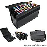 YOUSHARES Marker Storage Case Lipstick Organizer - 80 Slots Carrying PU Leather Storage Marker Case Lipscense Holder for Prismacolor Copic Touch Spectrum Noir Paint Sketch Marker (Black)